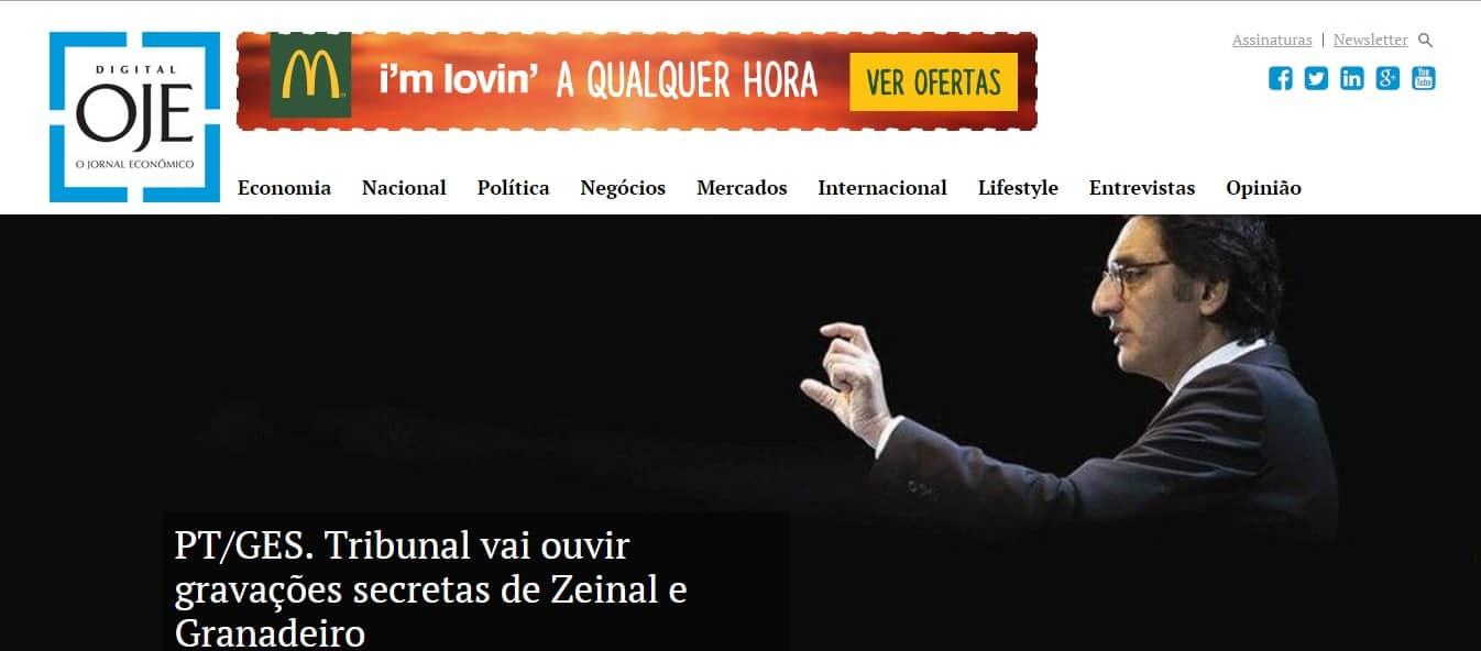 oje.pt home page